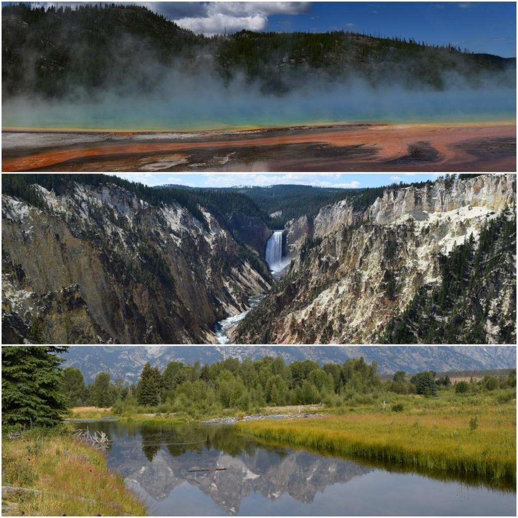 1. Prismatic springs; 2. Yellowstone falls; 3. Grand Teton NP